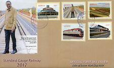 Kenya 2017 FDC Standard Gauge Railway 5v Set Cover Trains Railways Rail Stamps