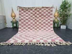 "Moroccan Handmade Beni Ourain Rug 5'1""x7' Berber Checkered White Pink Wool Rug"