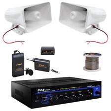 """Pyle PT110 PA Mono Amplifier, Mic Set, 100F Speaker Zip Wire, PA 6""""Horn Speakers"""