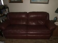 Burgundy Leather Recliner Sofa, Love Seat, and Recliner Chair