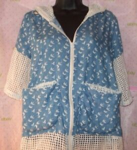 New RIM CLOVER KNIT EMBROIDERY SMALL HOODIE SWEATER WHITE BLUE DRAWSTRING top