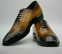 Handmade Men's Brown Leather Dress Formal Oxford Shoes