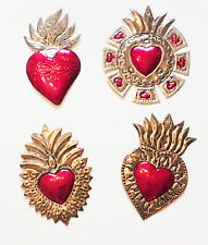 Unique Mexican Tin Hearts Set Of 4 Wall Hanging Ornaments Hand Punched Metal 19