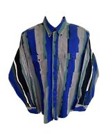 Wrangler Men's 16.5 - 35 Button Down Western Striped Wild Long Sleeve Shirt