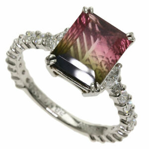 3.22ct Tourmaline Bicolor Diamond Ring Platinum PT900  4.7g