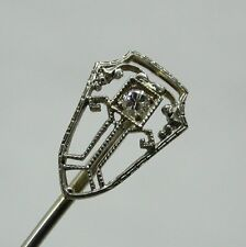Beautiful Art Deco 14ct White Gold And Diamond Set Stick / Tie Pin Original Box