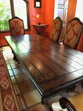 Dining Room Table with wrought iron base and Brown Wood Top