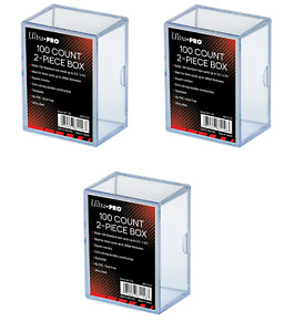 (3-Pack) Ultra Pro 2 Piece Plastic Card Storage Box (100 Count Size) Slider Box