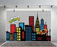 Cartoon City Buildings 7x5Ft Studio Backdrop Photography Background
