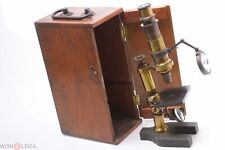 ✅ HARTNACK & PRAZMOWSKI FRENCH ANTIQUE BRASS MICROSCOPE COMPOUND C. 1875