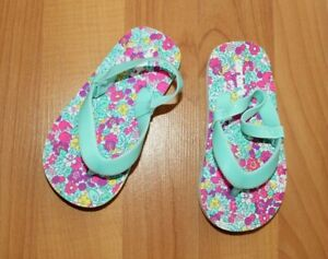 Carter's Girls Sz 5/6 Teal Floral Jelly Strap Flip Flop Sandals Water Shoes