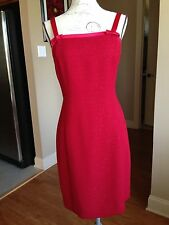 Sharon Young Cocktail Solid Red Dress Shift Polyester Size 2 CD61