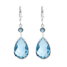 14K White Gold Earrings with Dangling Pear Shape and Round Blue Topaz Gemstones