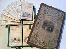 Jeu de Grammaire illustré ancien 1840, cartes en lithographie, Époque romantique