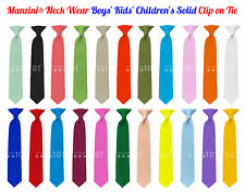 Manzini® Neck Wear Boys' Kids' Children's Solid Pre Tied Ready to Clip On Tie