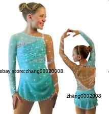 Ice skating dress.Competition blue Figure Skating / Baton Twirling dress child16