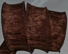 """Wired Ribbon~Brown Crinkle~Thanksgiving~2.5""""~Halloween~Autumn~Fall~Wreath~Bow"""