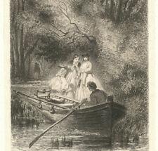 Traversée en Barque FOULQUIER 1822 1896 Eau forte Signée Envoi