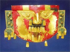 Postcard Peru Inca Mask Gold w/ Red Green Paint Museo Arqueologia Lima MINT