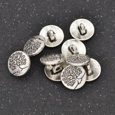 10 Pcs Alloy Life Tree Carved Shank Buttons Silver Coat DIY Scrapbook Craft