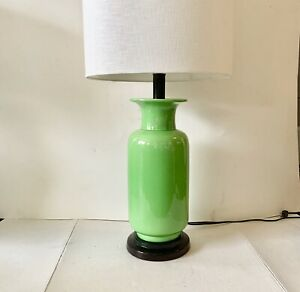 STIFFEL Apple Green Lamp MCM Ceramic Chinoiserie Base 1970's
