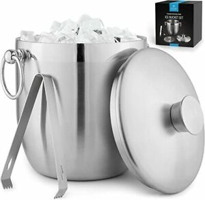 3 Liter Double, Wall Insulated Ice Bucket, Stainless Steel Ice Bucket With Lid