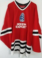 Vtg CCM Molson Expert Sailboat Embroidered Red Canadian Made Hockey Jersey Sz XL