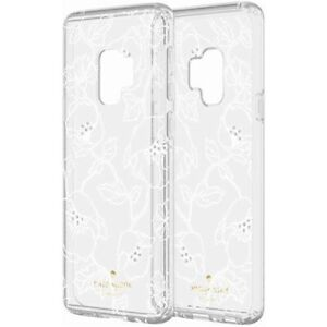 Kate Spade Protective Hardshell Case for Galaxy S9 - Clear/ White Floral w/ Gems