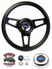 "1965-1966 Ford F-100 steering wheel BLUE OVAL 13 3/4"" BLACK SPOKE steering wheel"