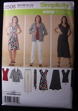 Plus Size Womens Pattern Dress Top Pants Easy Sz BB 20W to 28W Simplicity 3506