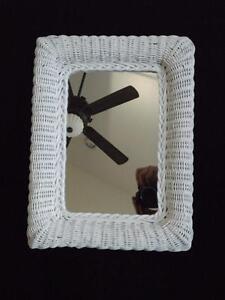Vintage Shabby Chic Rectangular White Wicker Wall Mirror