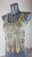 Ladies Nude / Beige Mesh Embroidered Top Atmosphere Size UK 10 B252-23