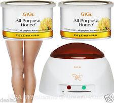 2 x 14oz Gigi Hair Wax All Purpose Honee Honey 0330 + Economy Warmer fast s&h