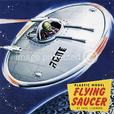 Plastic Model Flying Saucer Vintage Style Sci Fi Art 18x18 Giclee' Poster