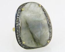 Genuine Labradorite & Rose Cut Diamond 18k Gold 925 Silver Victorian Dinner Ring