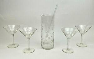 Vintage MCM Mid Century Modern Cocktail Mixer Martini Glass Set ATOMIC BARWARE