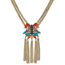 Lux Accessories Turquoise & Orange Stone Crystal Fringe Statement Necklace