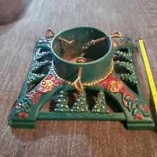 Vintage Innova green gold red ornate cast Iron christmas tree stand 13.5 x13.5
