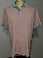 Vineyard Vines Mens Short Sleeve Whale Polo Shirt Medium Orange Blue Striped
