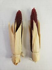 """Set of Two 5"""" Burgundy Red  Corn Cob Candles Fall Halloween Thanksgiving"""