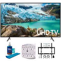 "Samsung 65"" RU7100 LED Smart 4K UHD TV 2019 Model with Flat Wall Support Bundle"