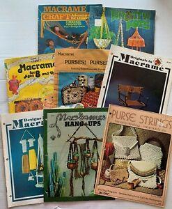 Vtg 1970s Macrame Pattern Book LOT of 8 Owl Purse Plant Hanger Bag Chair Swing