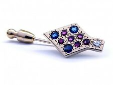 Solid Sterling 925 Silver Natural Gem Stone Sapphire & Amethyst Tie Pin