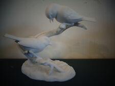 VINTAGE VISTA ALEGRE BIRDS FIGURINE VA PORTUGAL SIGNED WHITE BISQUE PORCELAIN