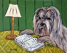 Lhasa Apso dog art  poster gift  13x19 modern folk library GLOSSY PRINT
