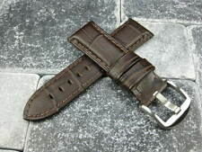 24mm Alligator Grain Leather Strap Dark Brown Watch Band Brown Pam 1950 24