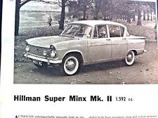 HILLMAN SUPER MINX  Mk II -1962 - Road Test removed from Autocar