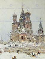 PAINTING CITYSCAPE MOSCOW DUBOVSKOY CHURCH SAINT BASIL ART PRINT POSTER HP1611
