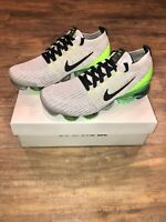 New Nike Air VaporMax Flyknit 3 Vast Grey Electric Green Size 9.5 Men's Shoes