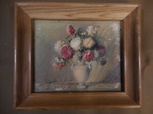Vintage Miniature Flower Picture apx 6 x 5 Pink White w Vase Country Farmhouse